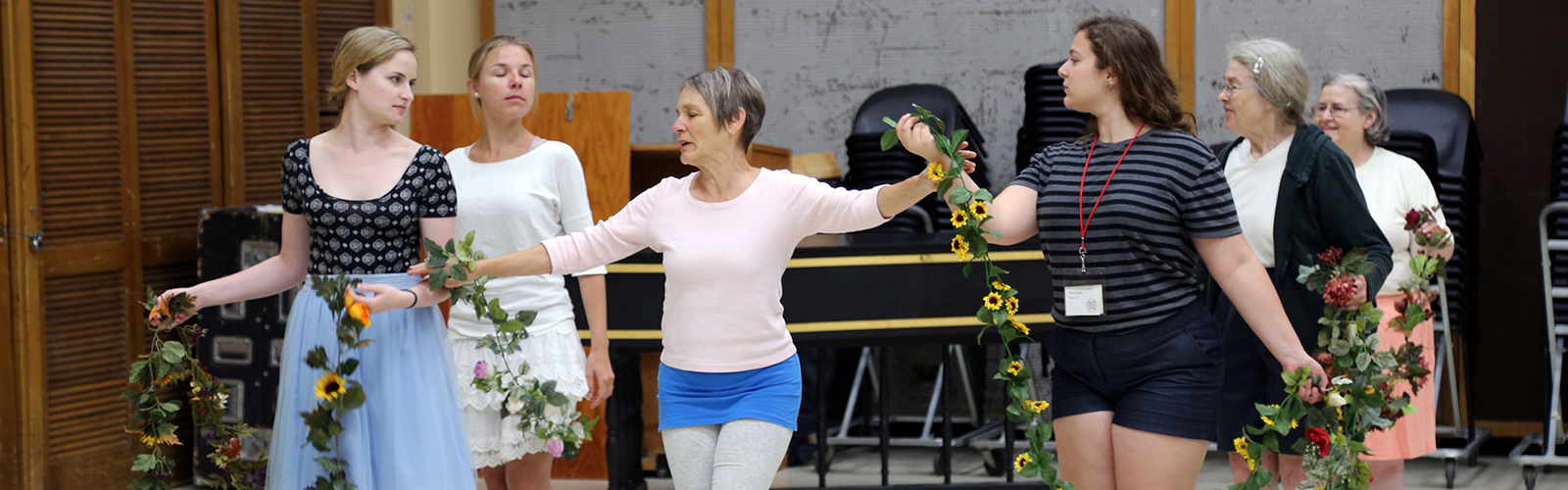 Dance instructor Jane Peck demonstrates choreography for the MEMF 2016 early opera workshop